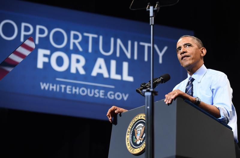 Taking a leaf from Reagan, Obama is asking Americans ahead of congressional elections in November if they were better now off than four years ago. However, the message is not resonating, especially with data showing median annual household incomes fell by more than US$2,100 in inflation-adjusted terms between 2009 and 2013 - AFP Photo (file photo).