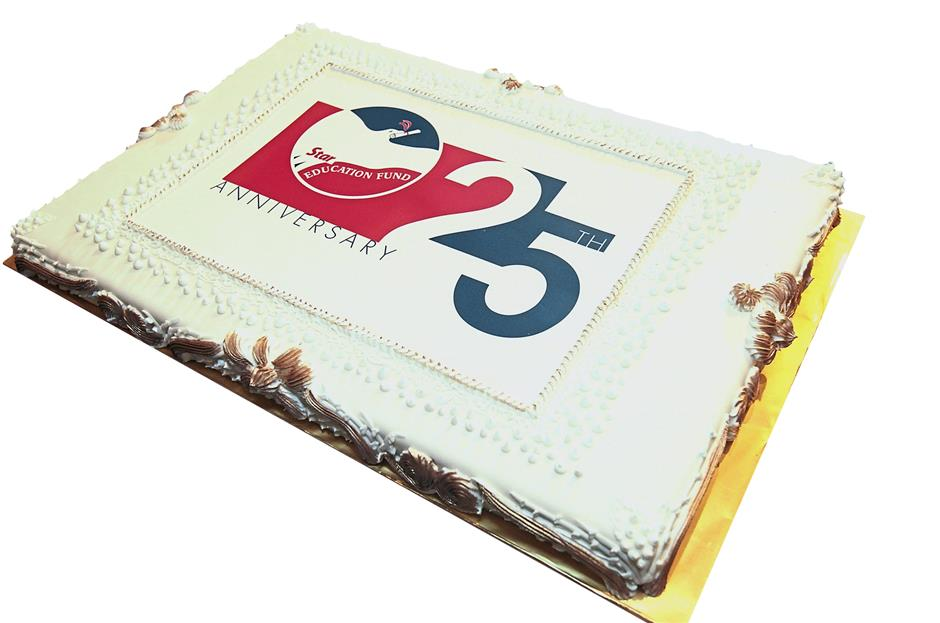 The funds 25th anniversary was marked with a delicious 10kg fruit cake covered in fondant icing.