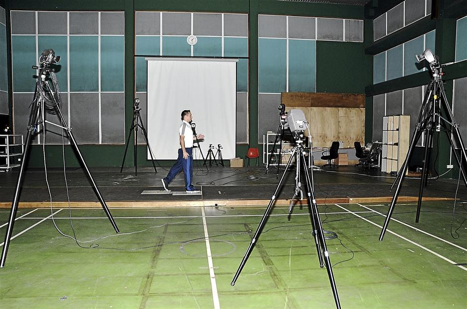 The gate analysis system used an array of high speed cameras and lets sports therapist analyse an athletes movement in detail.