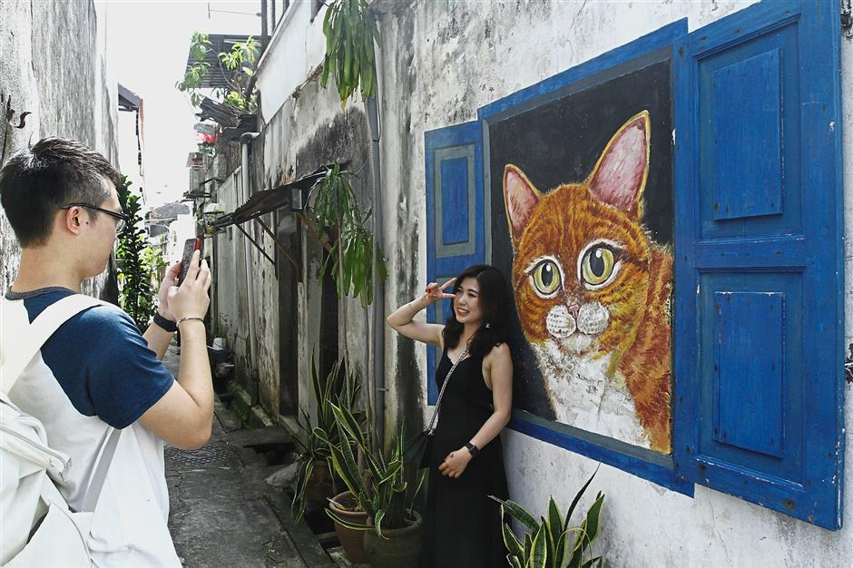 Terry snapping a photo of Winnie next to a cat mural in an alley off Lebuh Cannon.