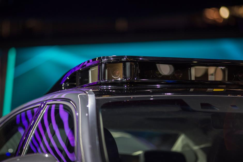 LiDAR sensors are seen on the roof of a Toyota concept car at CES in Las Vegas, Nevada, January 12, 2018. / AFP PHOTO / DAVID MCNEW