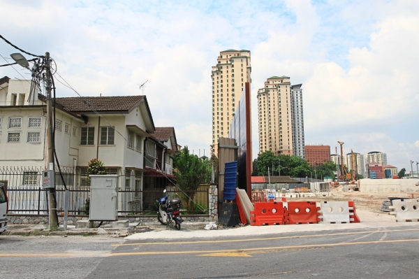 A noise barrier was built after residents in Jalan Cumarasami complained about noise pollution from the project close to their houses. u00adu2014 LOW LAY PHOON/The Star