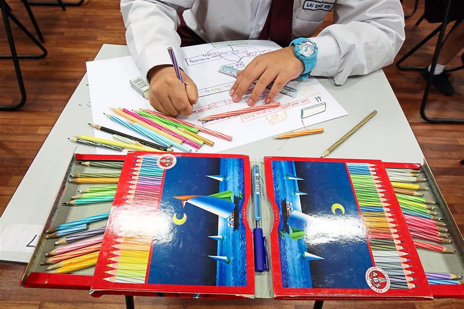 Colour me smart: Pencils of different shades are used during mind-mapping exercises.