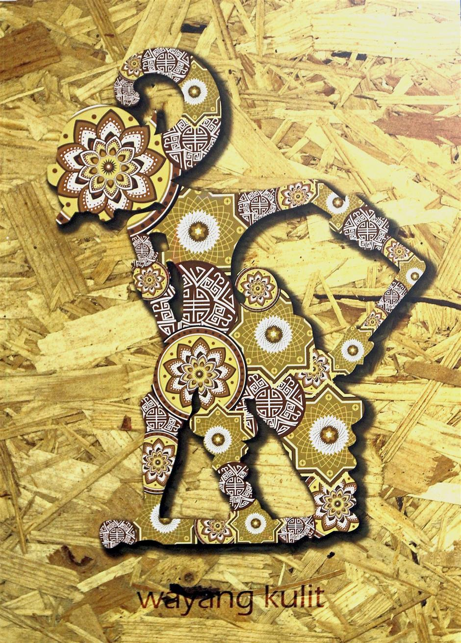 Chia used symbols that represent the Chinese, Malay and Indian communities for his artwork, the wayang kulit.