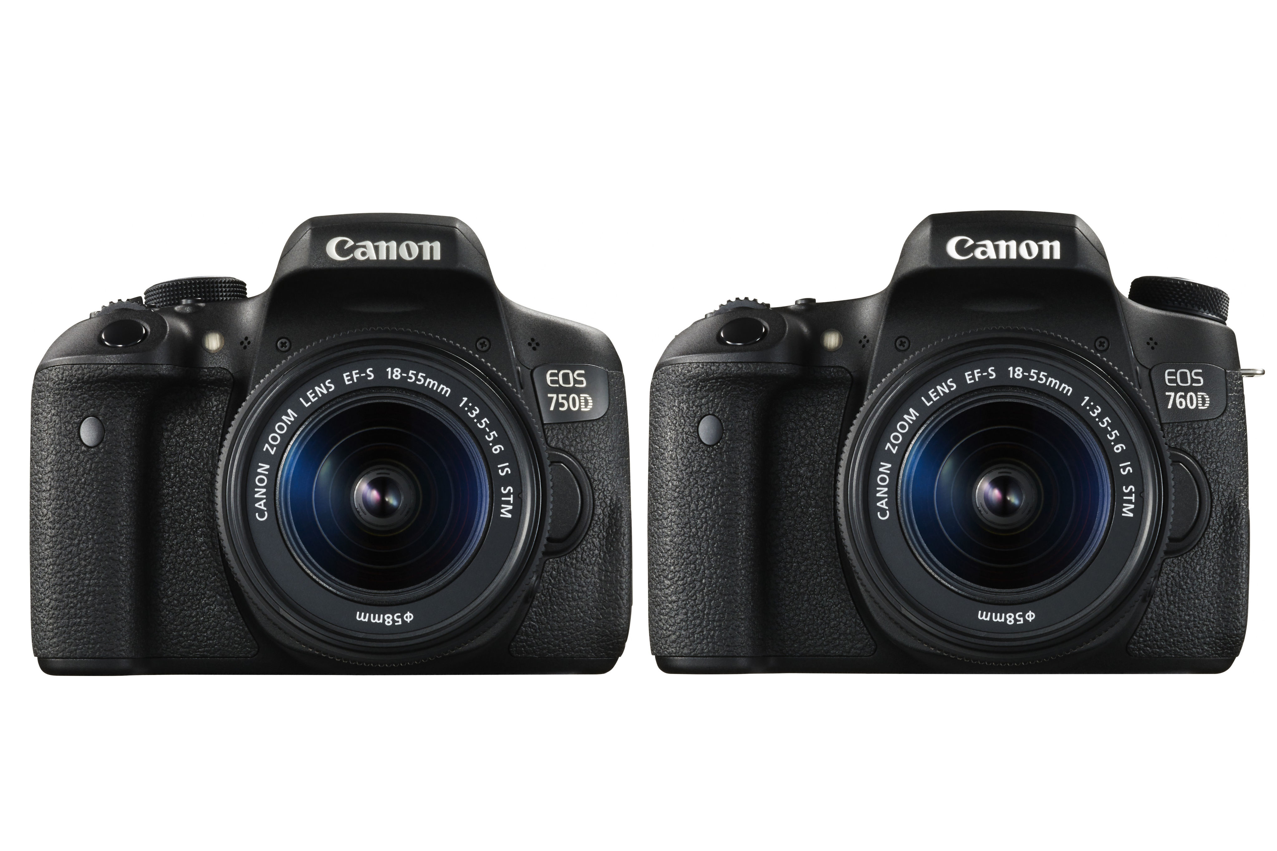 Separated at birth: the Canon EOS 750D (left) looks almost like a mirror image of its sibling the EOS 760D