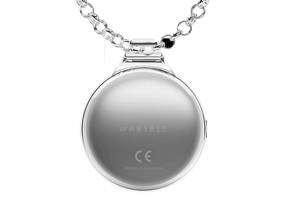 A WaryBee unit in the form of a necklace.