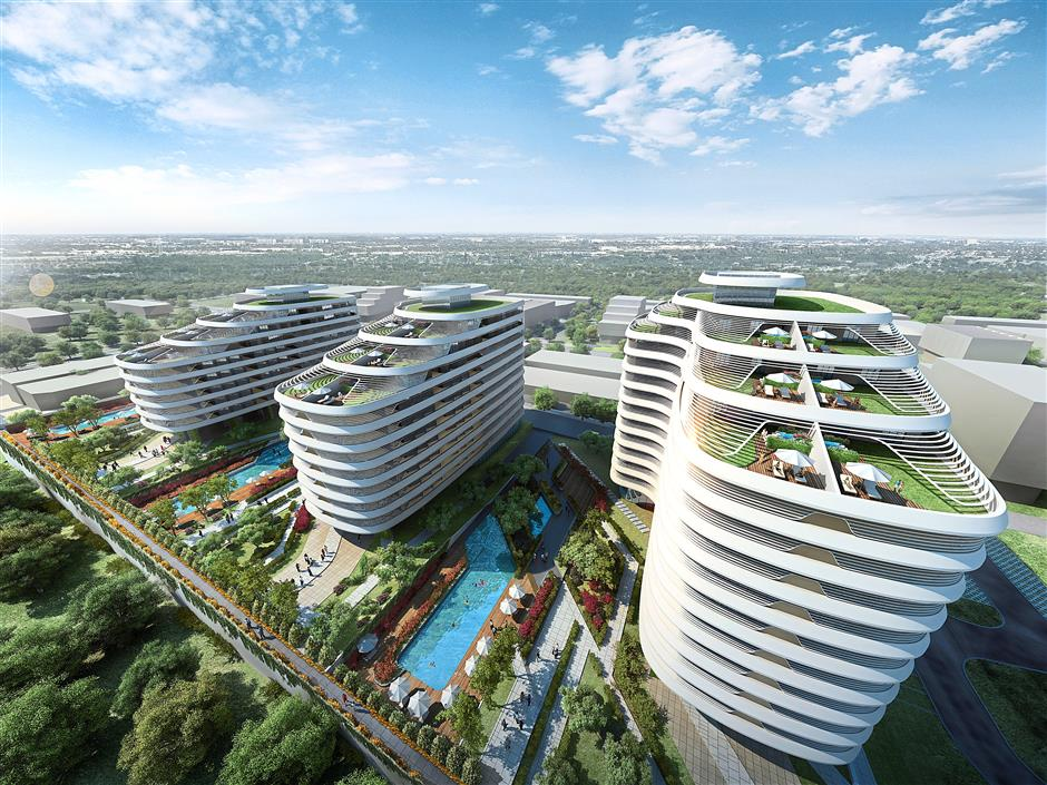An artist impression of Newpark Residences - the first serviced residences in Kluang, Johor - seek to balance contemporary living with resort-style recreational amenities, coupled with low energy and water consumption. -pix courtesy of Majupadu Development Sdn Bhd