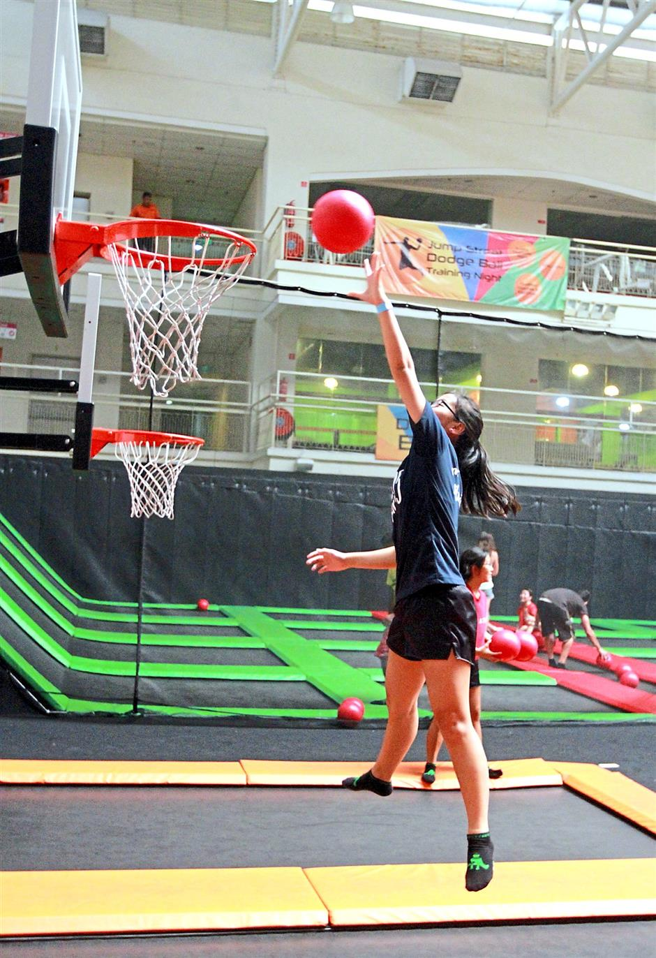You can slam dunk to greater heights if you do it on a trampoline.