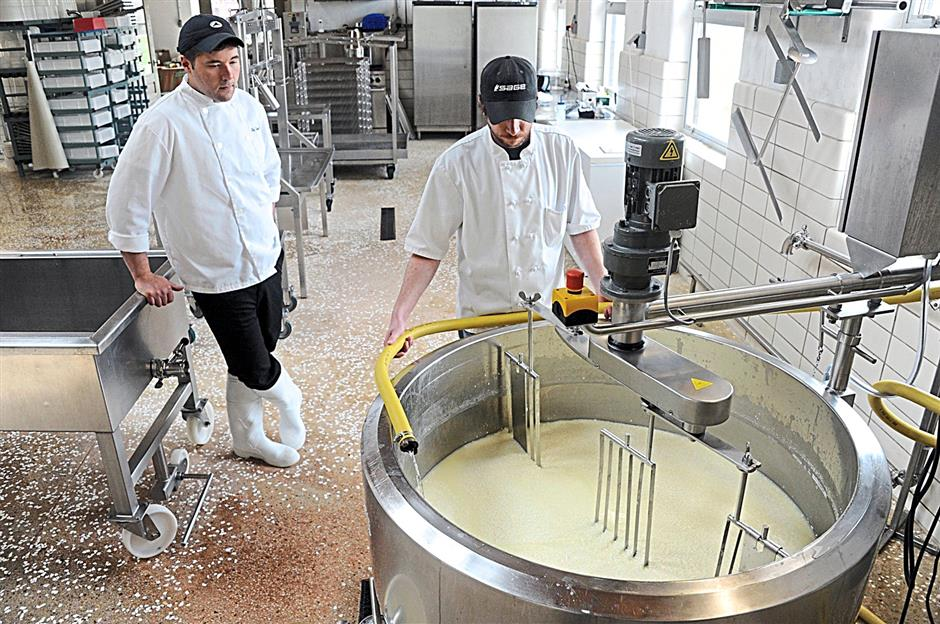 Cheesemaking in progress at The Farm.