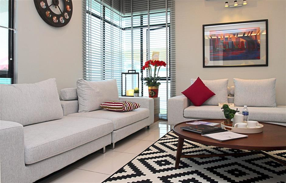 Distinct layout: The spacious and comfortable show house living room.