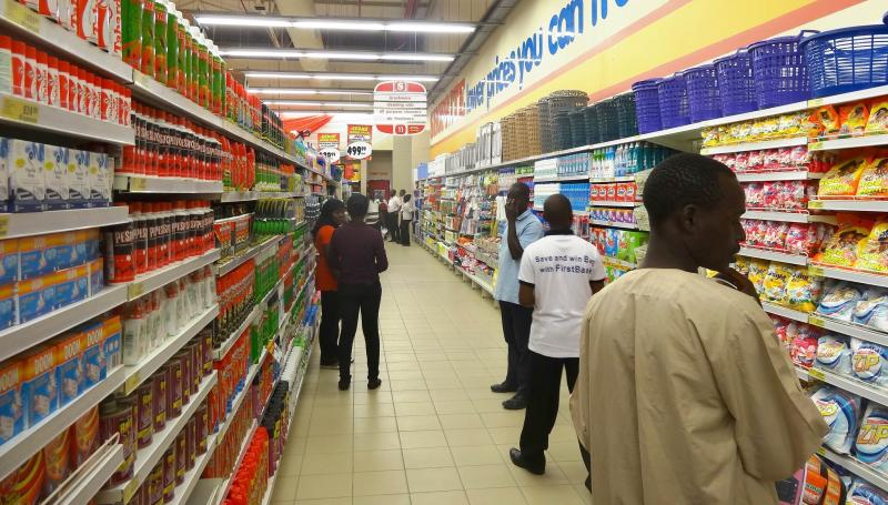Shoppers at the new South African retail giant Shoprite outlet in Kano, northern Nigeria on March 20, 2014. Nigeria has overtaken South Africa as the continent\'s largest economy with a GDP of US$453bil in 2012, officials said on April 6, 2014 - AFP Photo.
