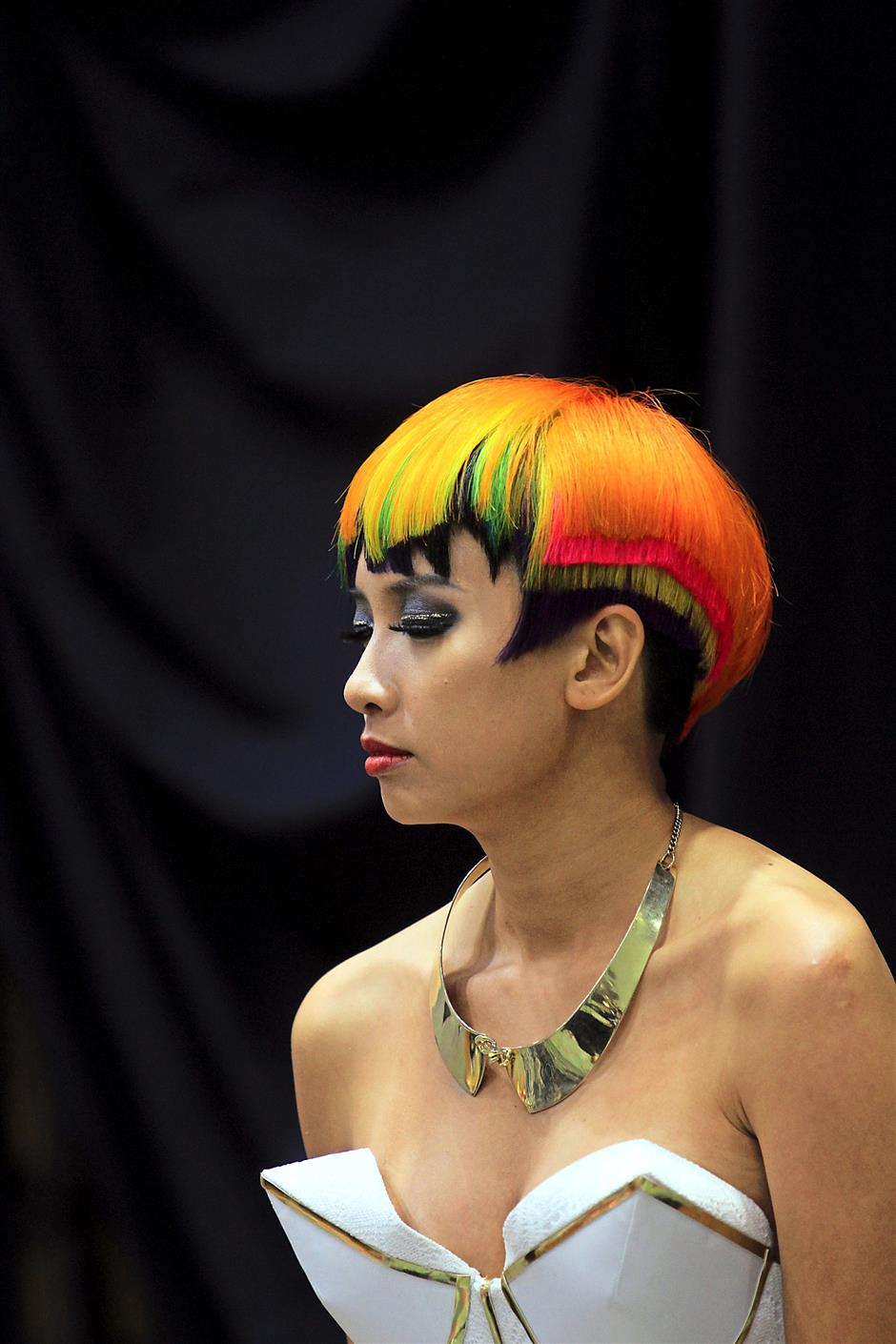One of the models at the Art of Hair show during the recent IBE 2015 at the KLCC.