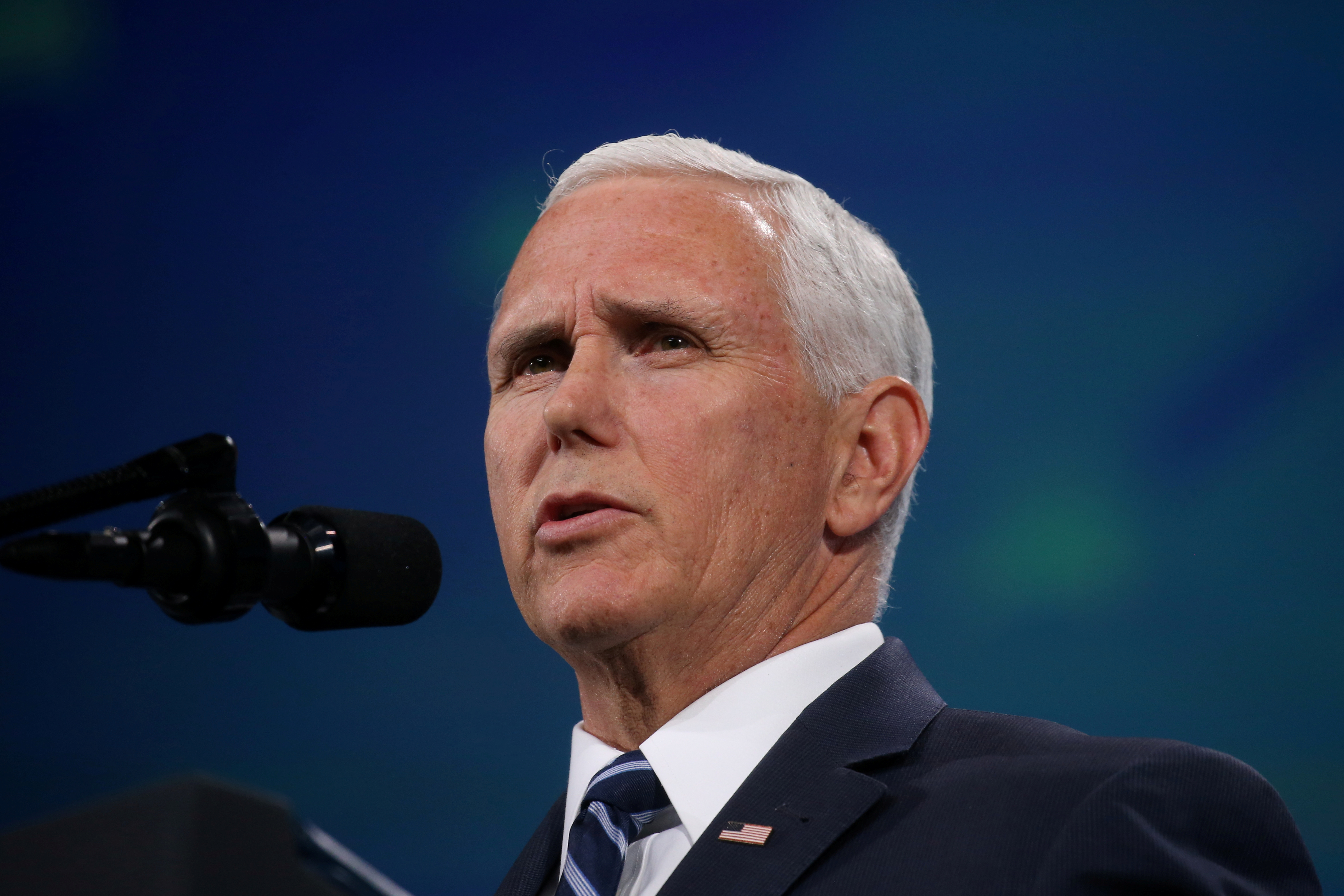 FILE PHOTO: U.S. Vice President Mike Pence President delivers remarks to the National Rifle Association-Institute for Legislative Action's (NRA-ILA) 148th annual meeting in Indianapolis, Indiana, U.S., April 26, 2019. REUTERS/Leah Millis/File Photo