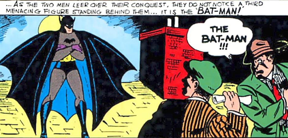 It's the hyphenated Bat-Man! The first appearance of Batman in Detective Comics #27, 75 years ago.