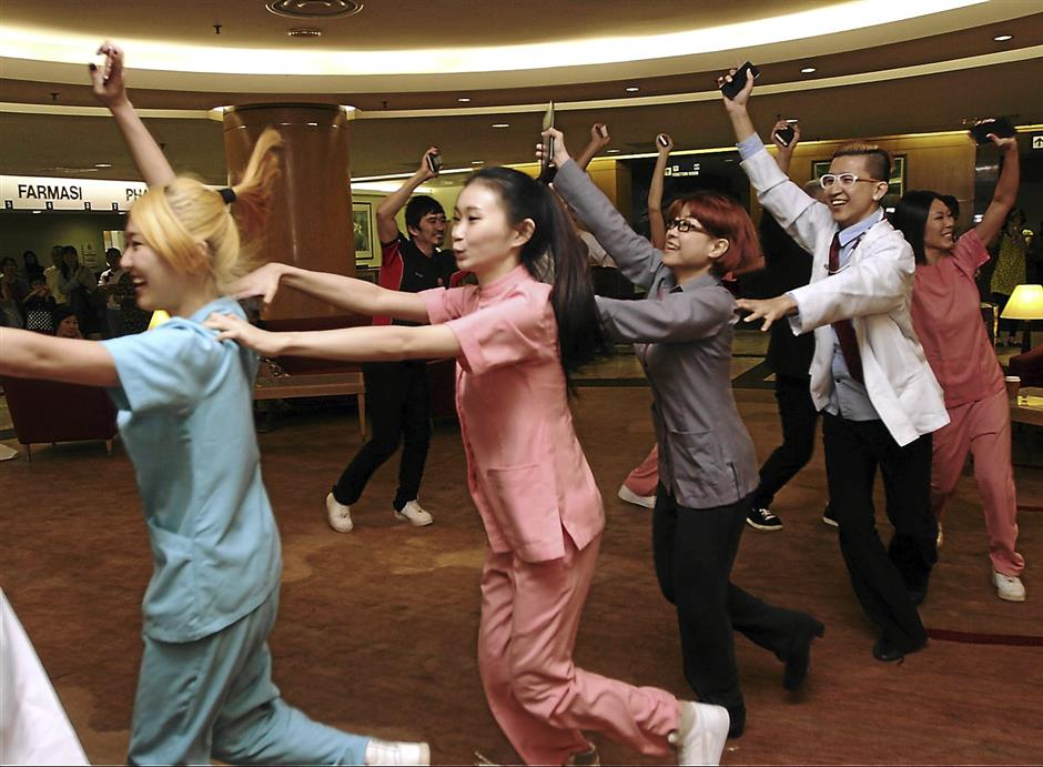 Conga line: Subang Jaya Medical Centre launched their diabetes awareness campaign with a flash mob dance performance by dancers dressed as hospital staff.SJMC launched a one-week diabetes awareness campaign called