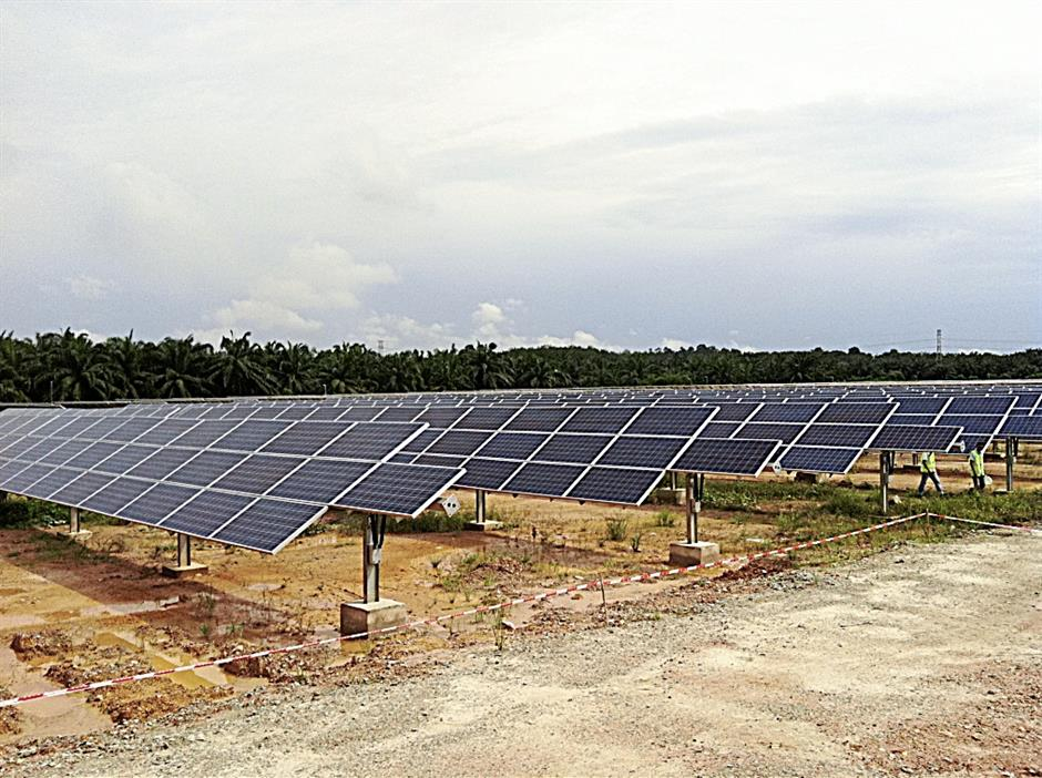The 5MW solar farm in Sepang sits on oil palm land leased from Malaysia Airports Holdings Bhd.