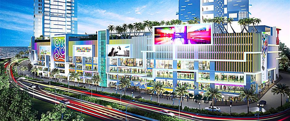 An artist's impression of the Southbay Plaza at night, a project by Mah Sing Group.