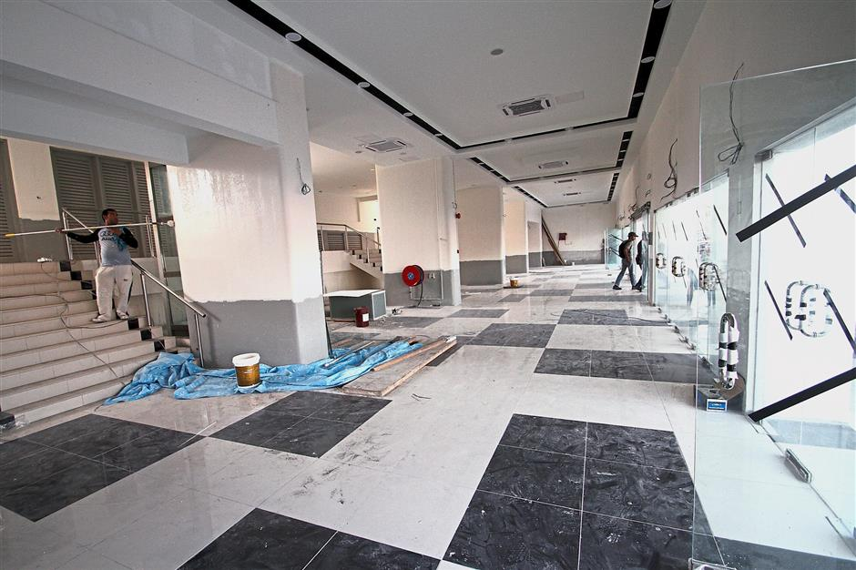 The refurbishment work in the entrance into the Perak Stadium is nearing completion.