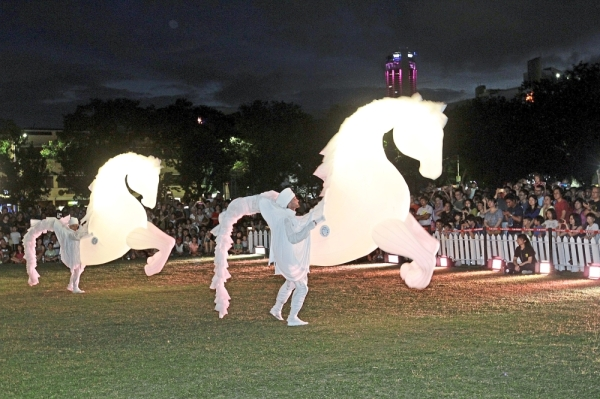 French roving act FierS a Cheval's herd of luminous horses charming audiences with a visually stunning spectacle.StarPicby:LIM BENG TATT/The Star/ 14 July 2019.