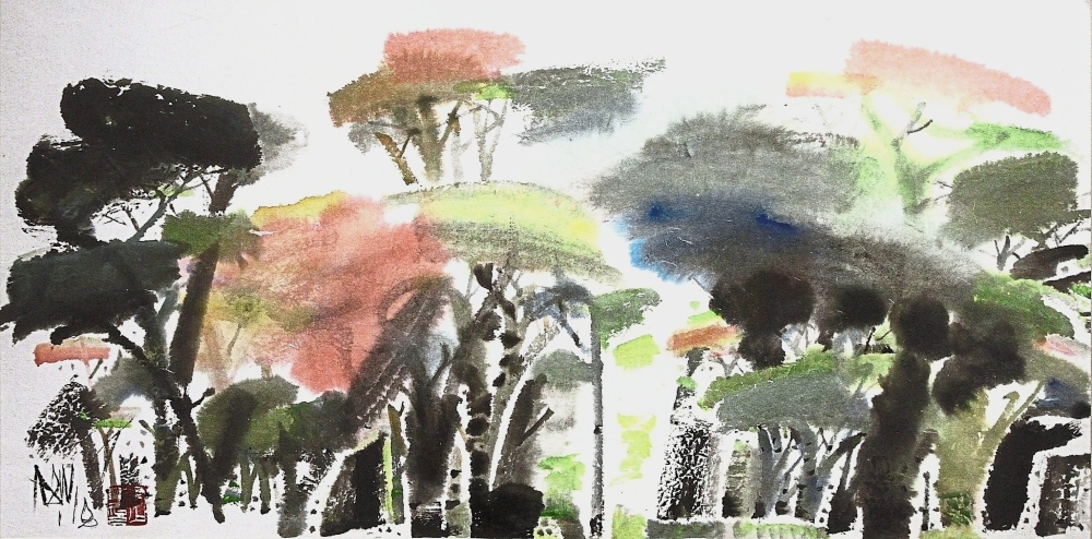 'Rich Forest' is an ink and colour on paper piece by Poh.