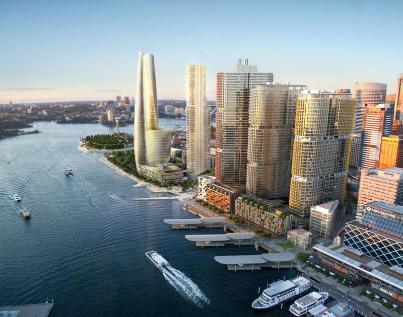 An artist\'s impression of tycoon James Packer\'s proposed billion-dollar casino for Asian high-rollers (L), stands on the Sydney skyline after Packer picked the British firm Wilkinson Eyre design, in Sydney on May 16, 2013. The Australian mogul wants his 60-storey building to rival the Sydney Opera House in the iconic structure stakes - AFP Photo/Crown Ltd.