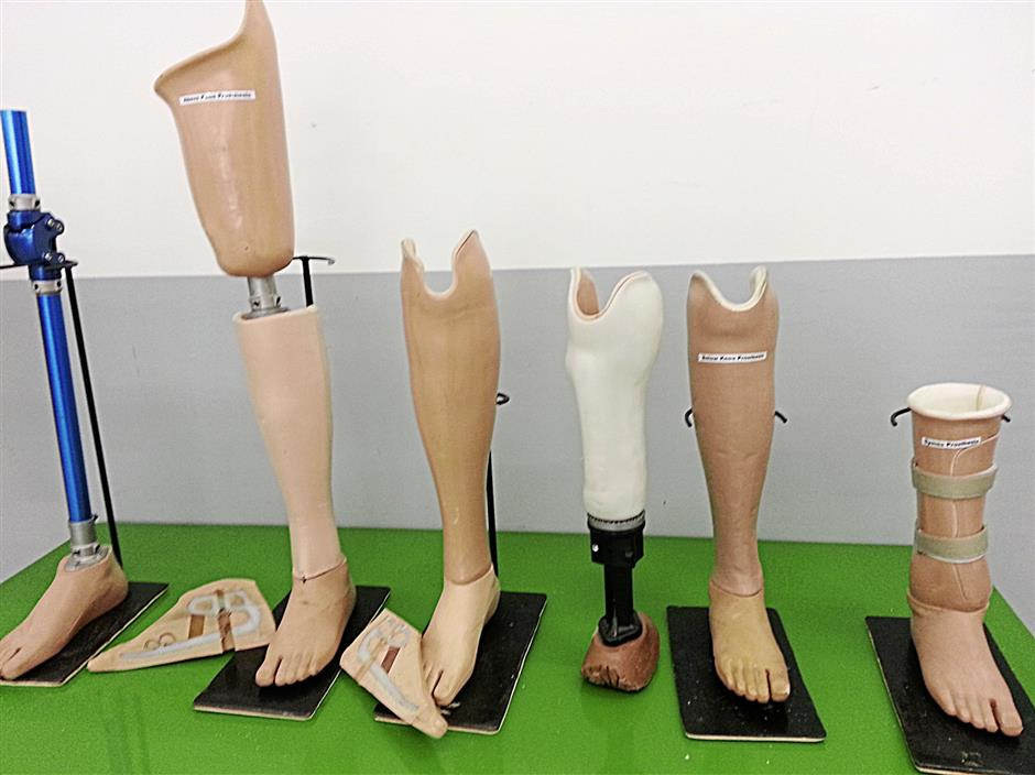 A range of artificial limbs which are available from Limbs for Life Prostheses Centre in Bandar Utama, Petaling Jaya.