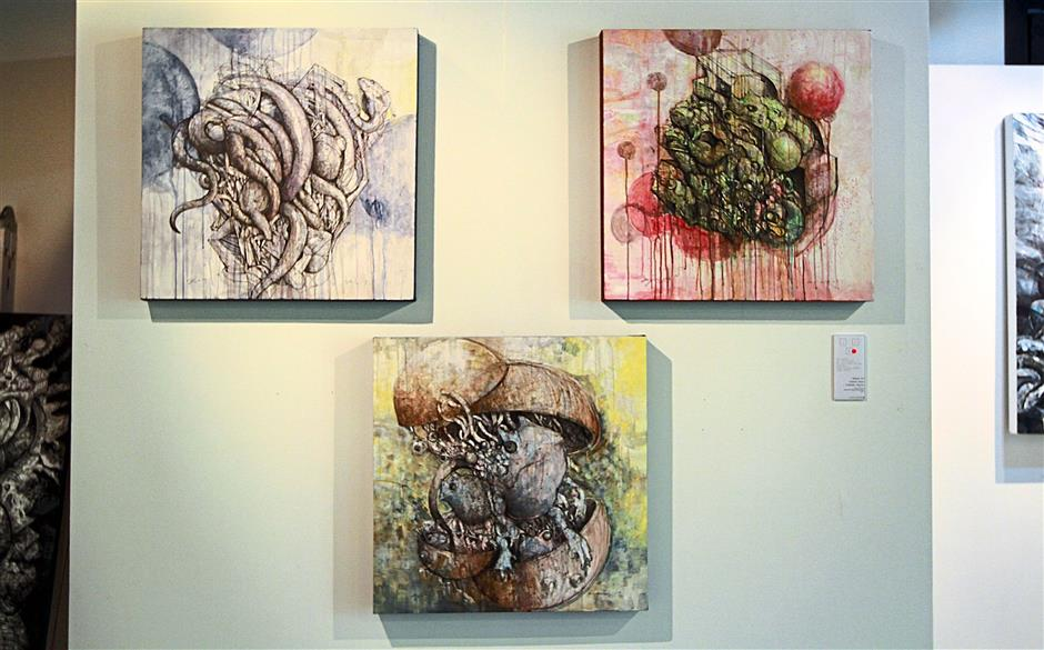 A few of Ajim's artwork that are showcased.