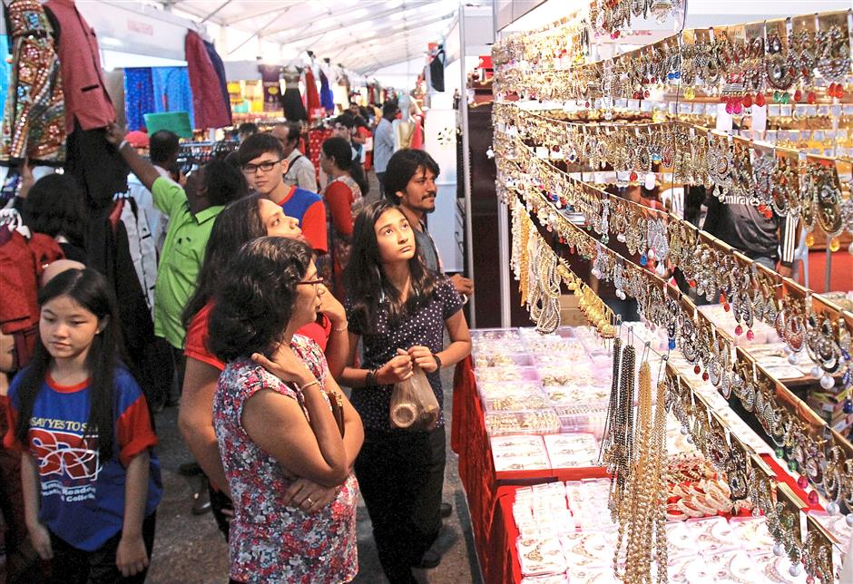 Many stalls at the Deepavali Carnival in Bukit Jalil sells women's accessories.