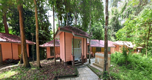Earth Lodge chalets in Ulu Muda forest reserve. (Left pic) Asian  elephants roaming in the wild along the Muda River. u2013 Photos: ZAINUDIN AHAD/The Star