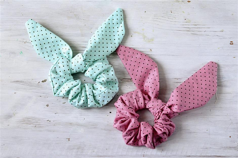 Make your own bunny-themed scrunchie for Easter.