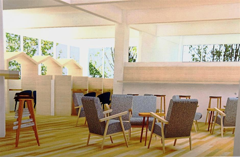 A comfortable sitting area is planned for the new facility.