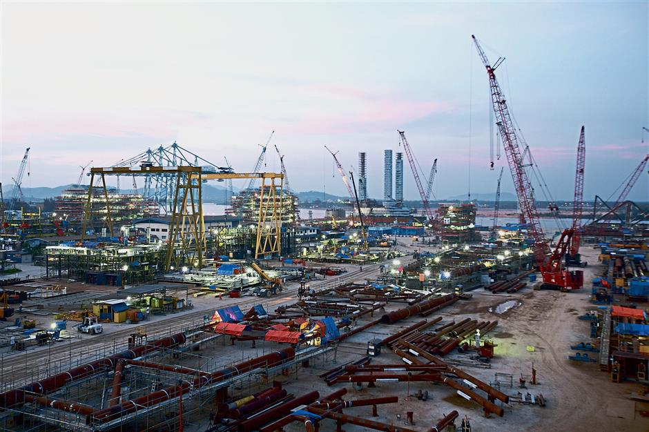 A file image of SapuraKencana Petroleum Bhd's Lumut fabrication yard. Industries in the state are set to enjoy the benefits of natural gas by next year.