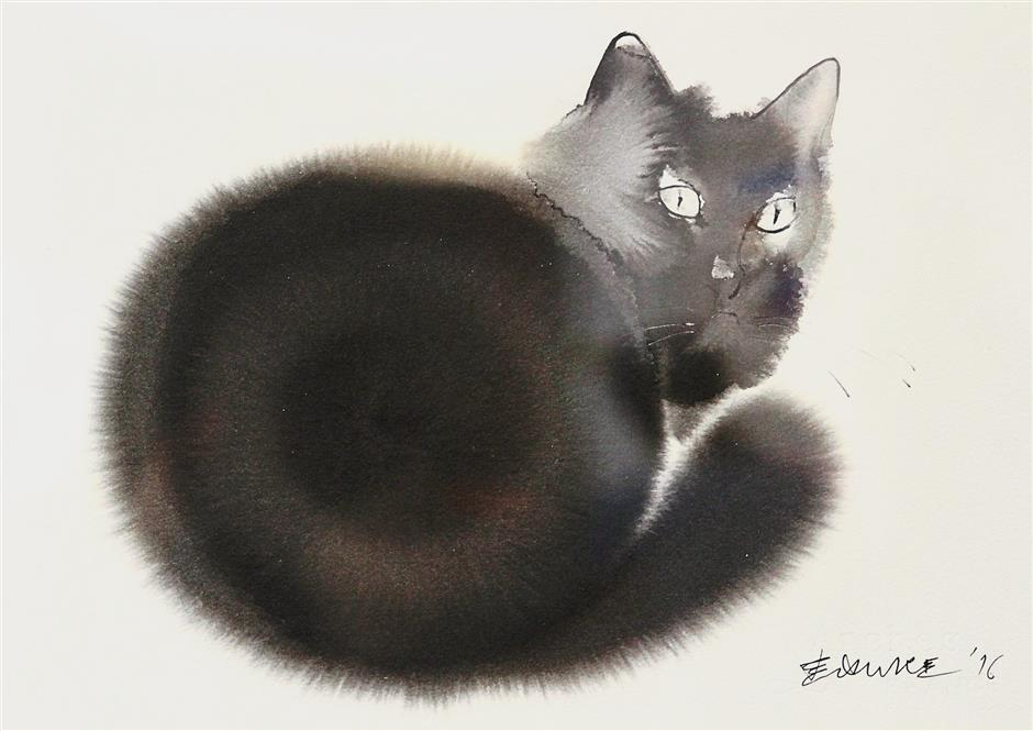 A cat peers back at the viewer in this simple but charming painting called 'Attention' by Endre Penovac of Serbia.