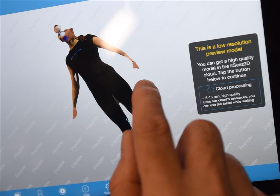 FILED - Bodygee's 3D body scanner offers gym users the chance to see how their body is changing thanks to their fitness routine. Photo: Henning Kaiser/dpa-tmn/dpa