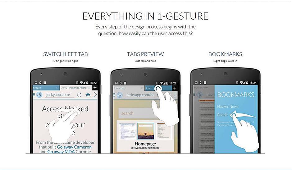 Javelin simplifies mobile browsing with its simple gesture navigation
