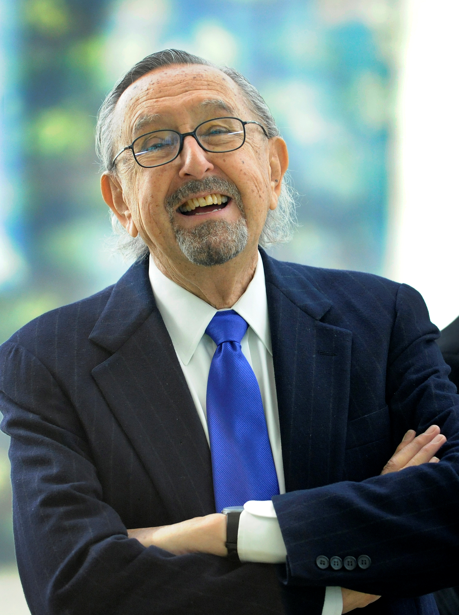 FILE PHOTO: Argentinean architect Cesar Pelli laughs during the inauguration of the Torre Iberdrola in Bilbao February 21, 2012.  REUTERS/Vincent West