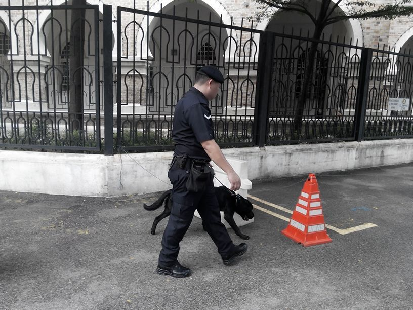 Bomb sniffing k-9 unit sweeping the area outside Bangunan Abdul Samad.