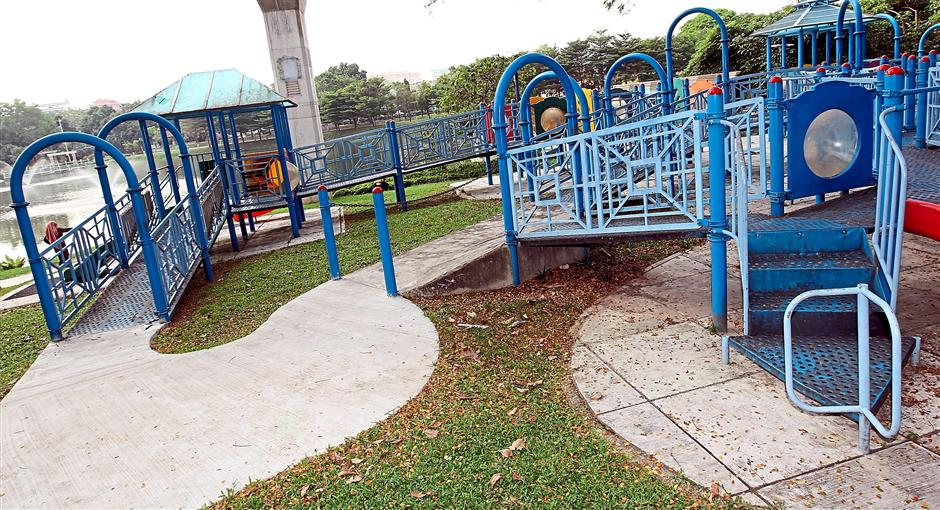 Connected: MBPJ's public park is now fitted with ramps and rails for the wheelchair-bound.