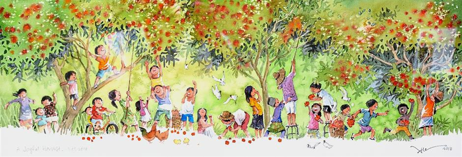 Simple pleasures are depicted in Alex Leong's 'A Joyful Harvest'.
