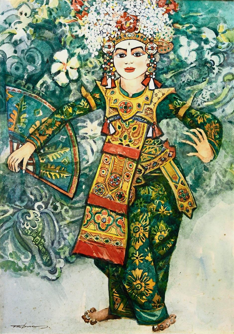 ^'Legong – The Classical' is a colourful piece by renowned Malaysian painter Datuk Tay Mo-Leong.
