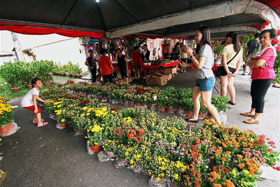 Stalls selling food, flowers and Chinese New Year products at the carnival.