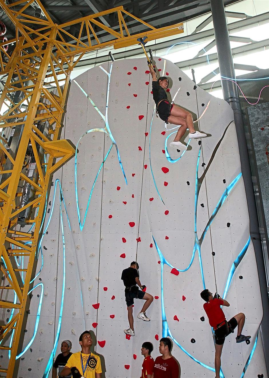 Patrons can challenge themselves at 16 different obstacles at the Power Station, which is an interactive climbing area equipped with autobelays for increased safety.