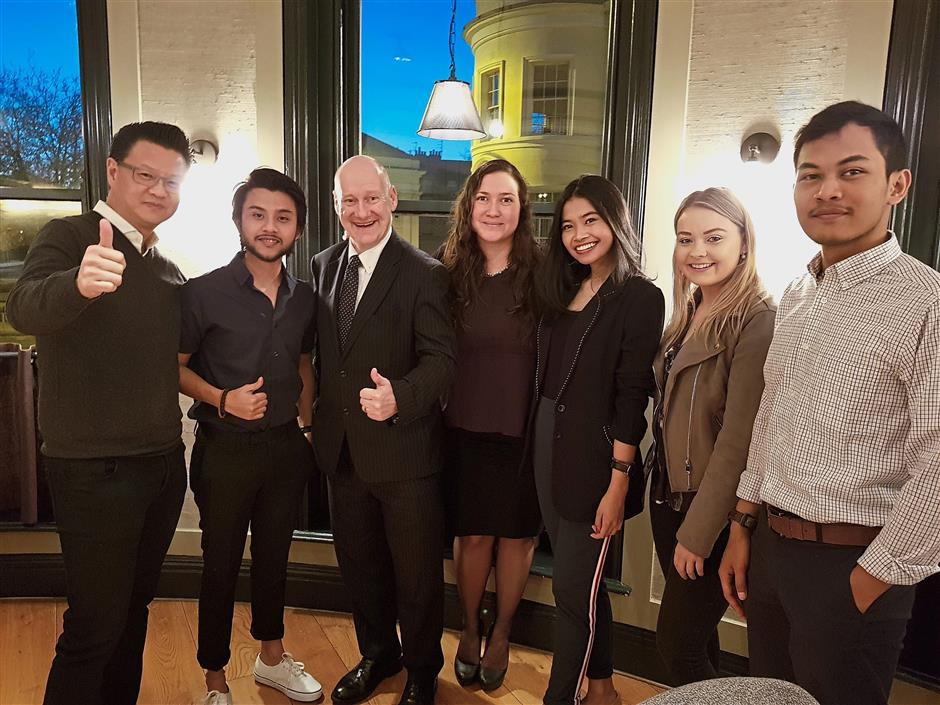 Fostering networking: MBA students from UOG were introduced to Malaysian entrepreneurs from the DMT Study Tour 9, which was led by Tio (left).
