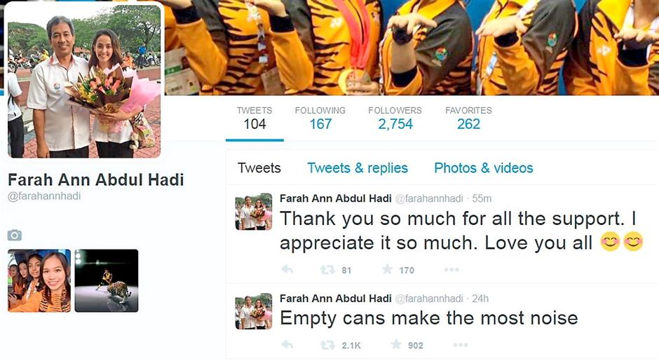 Taking the high road: Farah Ann's response to the controversy on her Twitter account.
