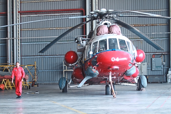 One of the unit's helicopters in the hangar. The team is always on standby, prepared to fly at a moment's notice when an emergency is reported.