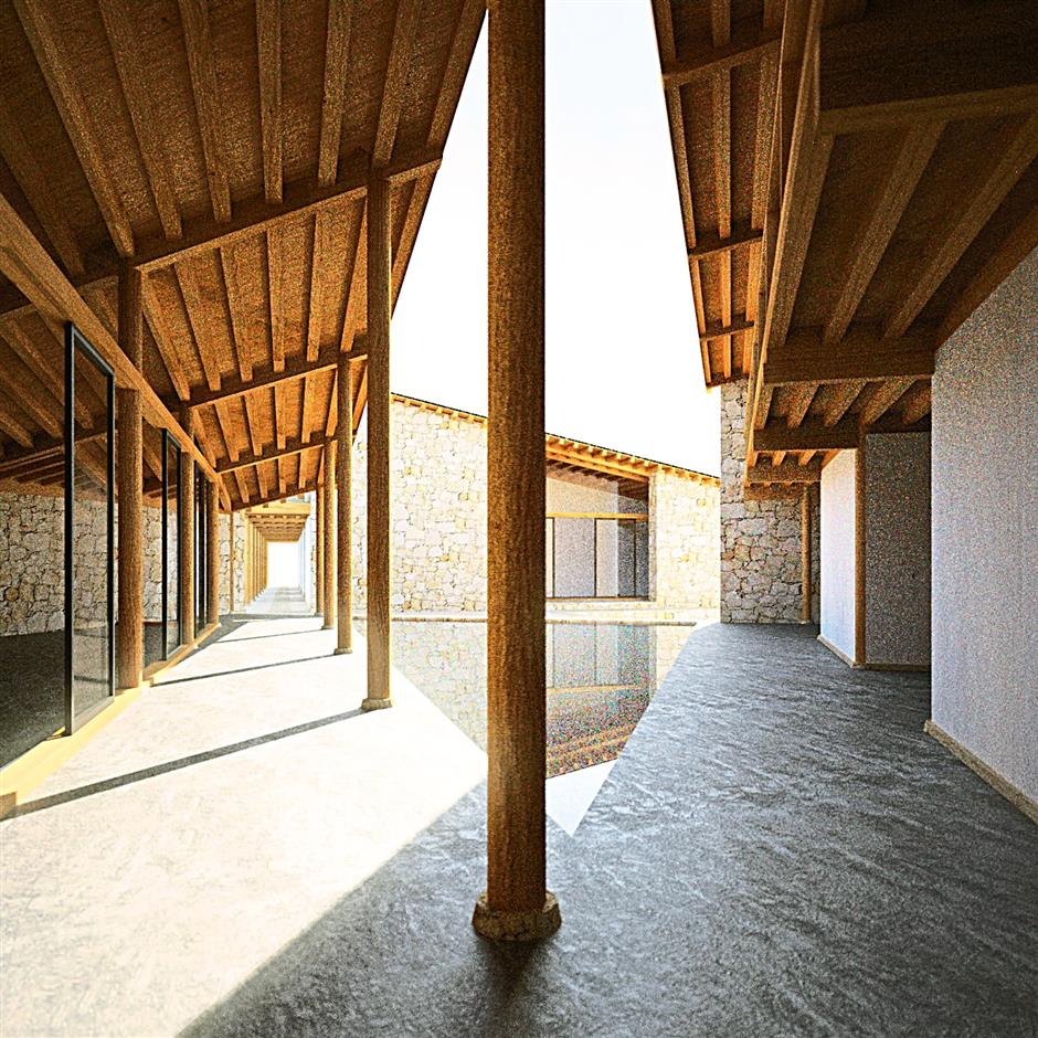 (Right) Shuangzi Hotel's triangular water courtyard creates an open space between these two buildings constructed from timber frames and limestone rock. A 70m long colonnade that travels through the two buildings offers the main circulation route and organises the spatial experiences.