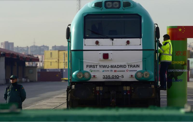 A picture from Dec 9, 2014 showing the Yixin\'ou cargo train arriving at the Abronigal railway station in Madrid, after travelling 13,000km (6,200 miles) from Yiwu in China, passing through six countries, including Russia, Germany and France - AFP Photo.