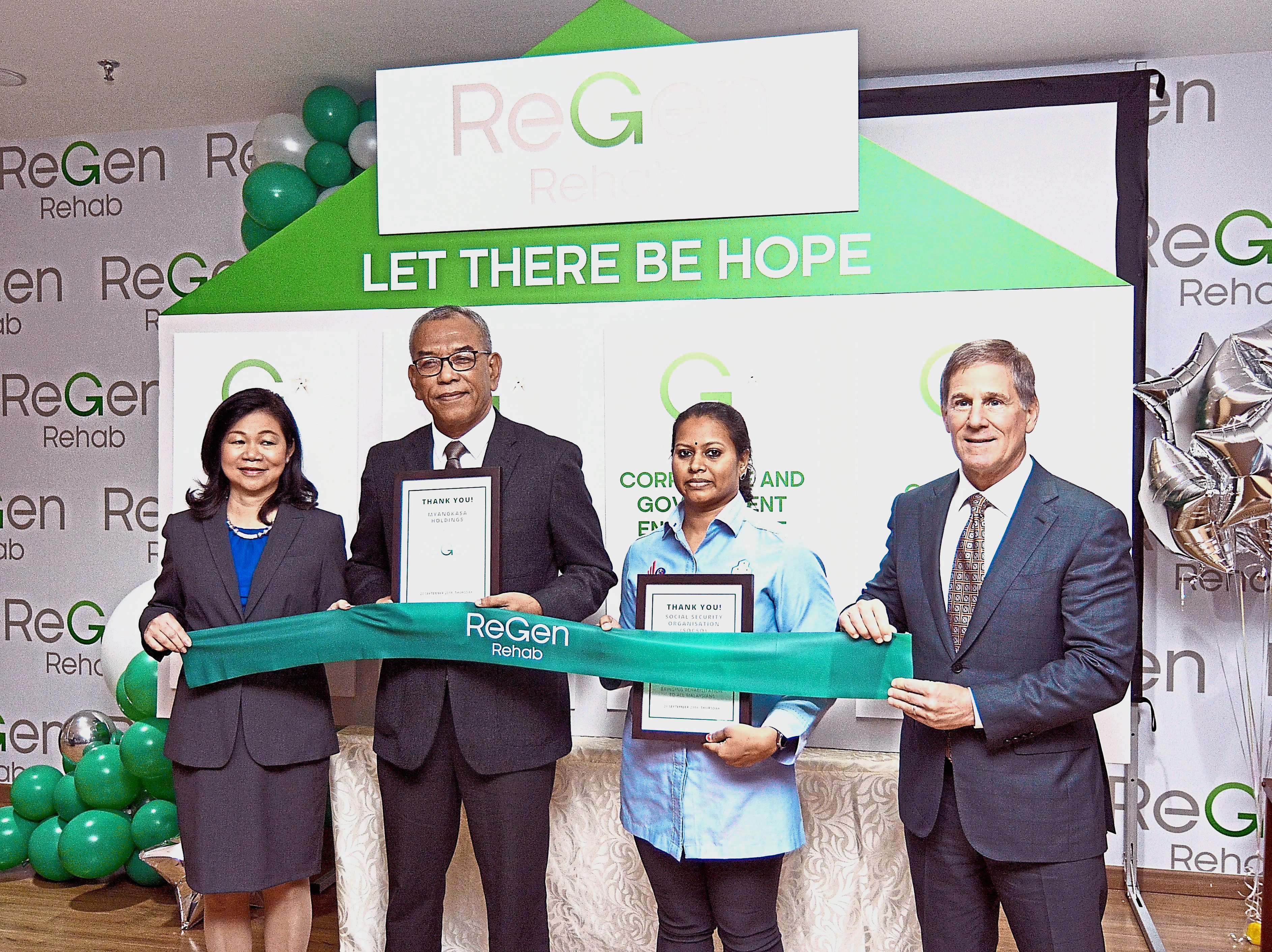 (From left) Lee, MyANGKASA Holdings Sdn Bhd executive director and group chief executive officer Shaharuddin Mohamed, Socso Return-to-Work case manager Vimala Arumugam and ReGen Rehab board member and Select Medical Holdings corporation co-founder and executive chairman Robert Ortenzio launching the new rehabilitation hospital.