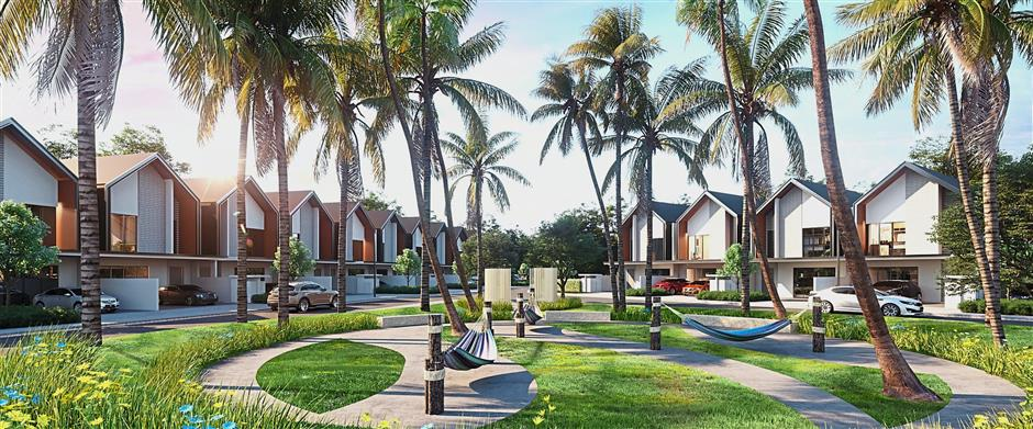 Palma Sands offers a beach resort-like living amidst tropical-inspired landscapes at Gamuda Cove.