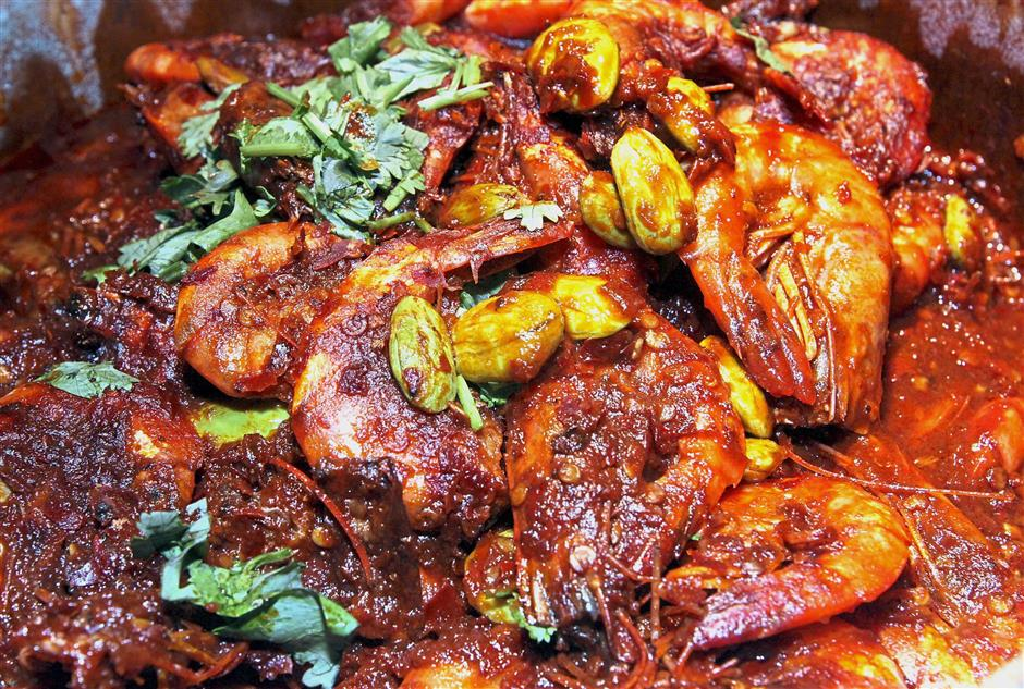 Spicy Sambal Udang Petai is a crowd pleaser.
